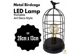 Metal Birdcage LED Lamp Portable Cafe Desk Light Home Decor Modern Rustic 75126 - Black