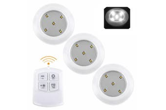 Set of 3 Wireless Remote Control LED SMD Lights Drawer Cabinet Cupboard - White