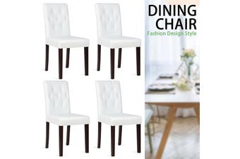 Advwin Set of 4 Dining Chairs Leather Kitchen Cafe w/ Tufted Backrest & Wood Legs White