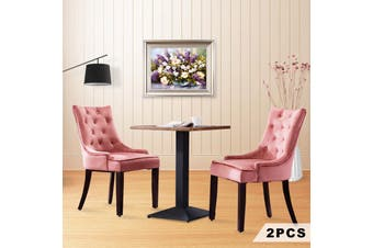Advwin Set of 2 Dining Chairs Tufted Design Fabric Kitchen Cafe Chairs w/ Wood Leg Pink(55.9cmW x46cm D x 93cm H)
