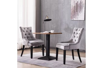 Advwin Set of 2 Dining Chairs Tufted Design Fabric Kitchen Cafe Chairs w/ Wood Leg Grey(55.9cmW x46cm D x 93cm H)