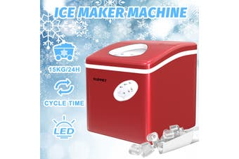 Advwin 3.2L Ice Makers Machine Countertop Commercial Home, Noise Reduction&Portable Intelligent LED Touch Screen, 9 Ice Cubes Made in 6 Minutes, S/M/L sizes, Automatic Alarm Prompt, Red