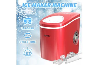 Advwin 2.2L Ice Makers Machine Countertop Commercial Home, Noise Reduction&Portable Intelligent LED Touch Screen, 9 Ice Cubes Made in 6 Minutes, S/L sizes, Automatic Alarm Prompt, Red