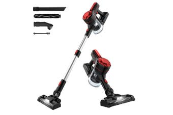 Advwin Cordless Vacuum Cleaner, 1200Pa 3 in 1 Powerful Filter Handheld Wireless Vacuum Cleaner with LED Light and Wall Bracket, Lightweight Portable, Red