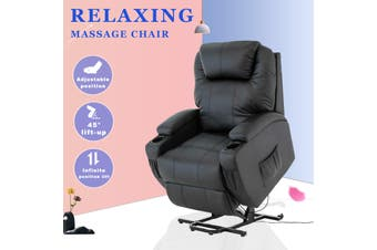 Advwin Recliner Chair Electric Lift Chairs Armchairs Lounge Sofa Leather Seat Black