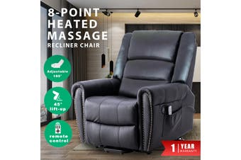 Advwin PU Leather Electric Lift Massage Chair Recliner with Remote Control, Adjustable Heat and 45-180 Degrees, Easy to Install, Black