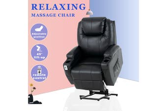 Advwin PU Leather Electric Lift Massage Chair Recliner with Remote Control, Adjustable Heat, and 45-140 Degrees, with Two Cup Holders and Side Pockets, Black