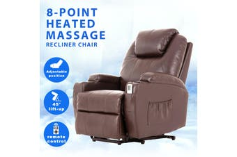 Advwin PU Leather Electric Lift Massage Chair Recliner with Remote Control, Adjustable Heat, and 45-140 Degrees, with Two Cup Holders and Side Pockets, Brown