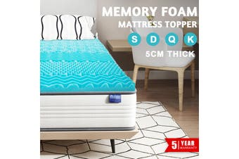 Advwin Double Mattress Foam Blue Memory Topper, Antibacterial Elasticity Breathable and Soft Topper