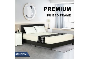 Advwin Double Bed Frame for Adults and Children, Premium Linen Woven Fabric, Queen Size (Black, 216cm*160cm*88cm)