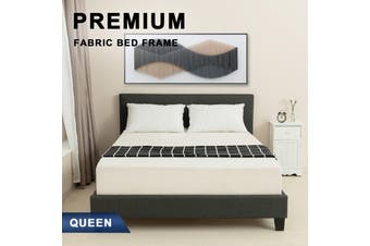 Advwin Double Bed Frame for Adults and Children, Premium Dark Grey Grade Linen Woven Fabric