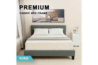 Advwin Double Bed Frame for Adults and Children, Premium Light Grey Grade Linen Woven Fabric