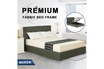 Advwin Double Bed Frame Gas lift for Adults and Children, Premium Dark Grey Grade Linen Woven Fabric, Queen Size(216cm*160cm*100cm) Suitable for 153 * 203 Mattress
