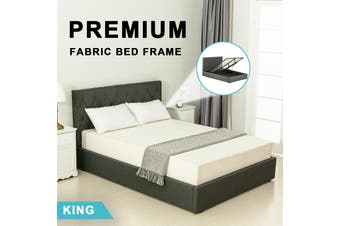 Advwin Double Bed Frame Gas lift for Adults and Children, Premium Dark Grey Grade Linen Woven Fabric, king Size(216cm*190cm*100cm) Suitable for 183 * 203 Mattress