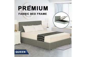 Advwin Double Bed Frame Gas lift for Adults and Children, Premium Light Grey Grade Linen Woven Fabric, Queen Size(216cm*160cm*100cm) Suitable for 153 * 203 Mattress
