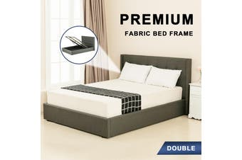 Advwin Double Bed Frame, Suitable for Adults and Children, Equipped with High-quality Dark Grey Linen Headboard is More Elegant and Beautiful, Double Bed Size (200cm * 148cm * 100cm) Fits 138 * 188 Mattress