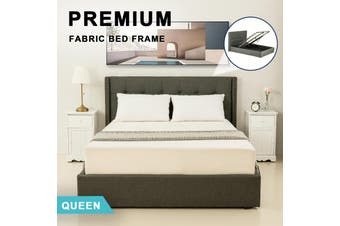 Advwin Double Bed Frame, Suitable for Adults and Children, Equipped with High-quality Dark Grey Linen Headboard is More Elegant and Beautiful, king Size(216cm*192cm*100cm) Suitable for 183 * 203 Mattress