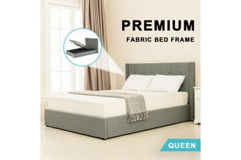Advwin Double Bed Frame, Suitable for Adults and Children, Equipped with High-quality Light Grey Linen Headboard is More Elegant and Beautiful, Queen Size(216cm*162cm*100cm) Suitable for 153 * 203 Mattress