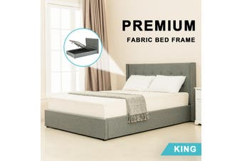 Advwin Double Bed Frame, Suitable for Adults and Children, Equipped with High-quality Light Grey Linen Headboard is More Elegant and Beautiful, king Size(216cm*192cm*100cm) Suitable for 183 * 203 Mattress