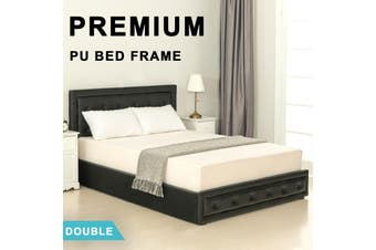 Advwin Double Bed Frame, Suitable for Adults and Children, with comfortable and flexible Black PU headboard, Double Bed Size (202cm * 146cm * 100cm), Fits 138 * 188 Mattress
