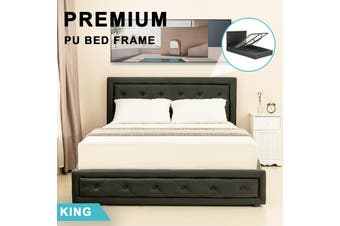 Advwin Double Bed Frame, Suitable for Adults and Children, with comfortable and flexible Black PU headboard, Double Bed Size (218cm * 190cm * 100cm), Fits 138 * 188 Mattress