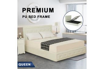 Advwin Double Bed Frame, Suitable for Adults and Children, with comfortable and flexible White PU headboard, Double Bed Size (218cm * 160cm * 100cm), Fits 138 * 188 Mattress