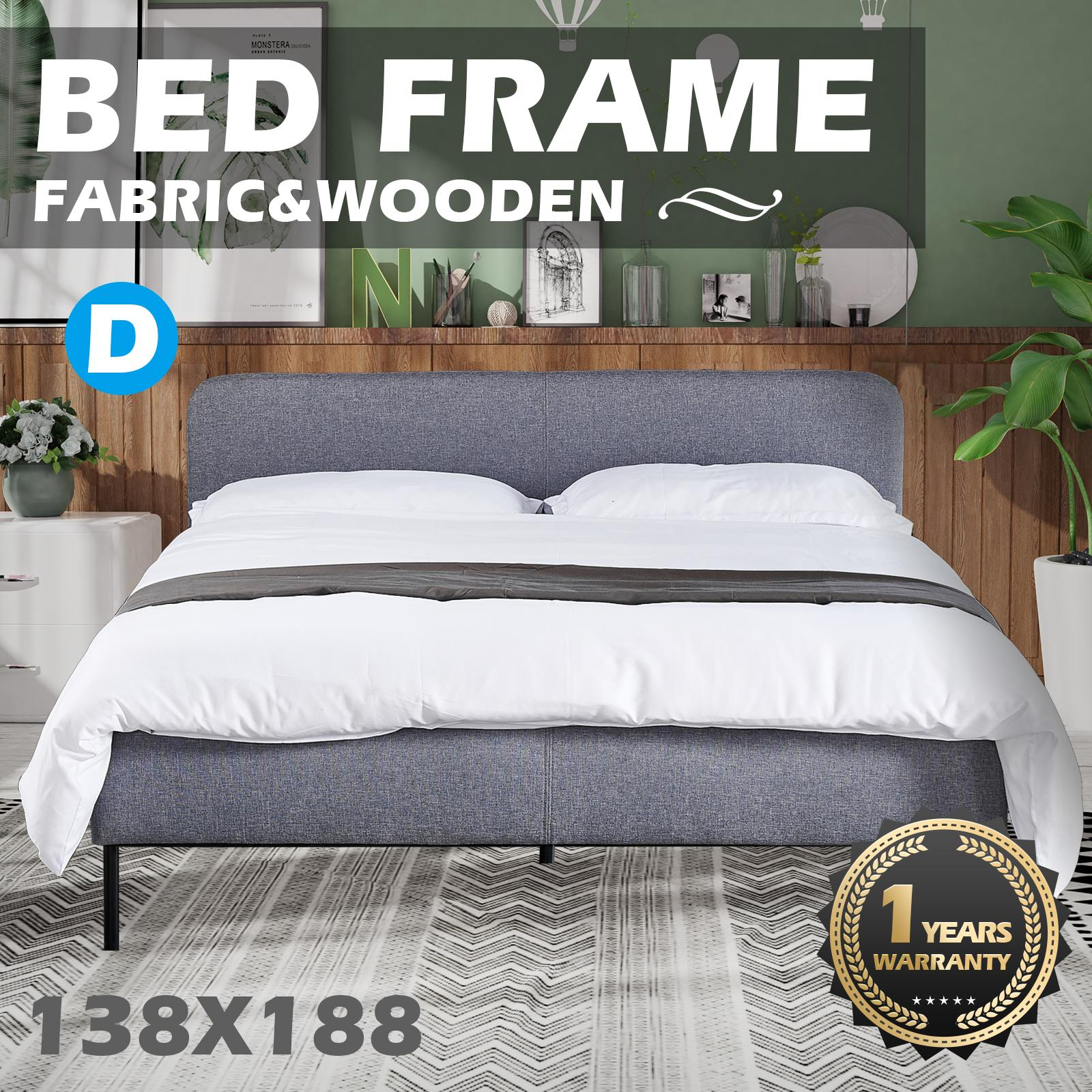 Picture of: Advwin Upholstered Platform Bed Frame Double Size Bed Frame Headboard Mattress Foundation For Adults And Children Wood Slat Support Easy Assembly Light Grey Matt Blatt