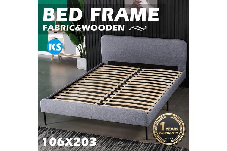Advwin Upholstered King Size Platform Bed Frame, Light Grey
