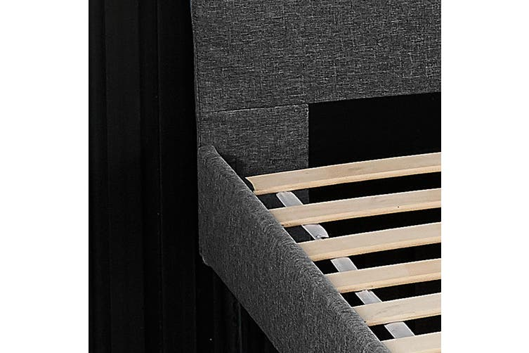 Advwin Upholstered Platform Bed Frame, Queen Size Bed Frame Headboard Mattress Foundation for Adults and Children, Wood Slat Support/ Easy Assembly Dark gray