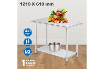 Advwin Commercial Kitchen Workbench 430 Stainless Steel Kitchen Work Prep Table, Double Layer  Work Table For Restaurant, Home and Hotel, 120*60*90cm