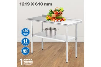Advwin Commercial Kitchen Workbench 430 Stainless Steel Kitchen Work Prep Table, Double-Layer Workbench for Dining Room, Home and Hotel, with Baffles, 120*60*90cm