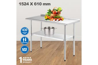 Advwin Commercial Kitchen Workbench 430 Stainless Steel Kitchen Work Prep Table, Double-Layer Workbench for Dining Room, Home and Hotel, with Baffles, 152.4*61*90cm