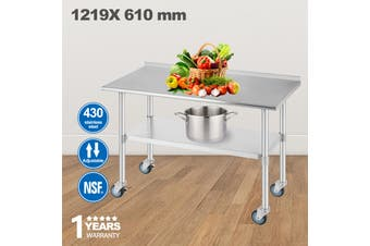 Advwin Commercial Kitchen Workbench 430 Stainless Steel Kitchen Work Prep Table  with Wheel Castor, Double Layer  Work Table For Restaurant, Home and Hotel, 120*60*90cm