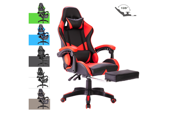 Advwin Gaming Chair Racing Style, Ergonomic Design with Footrest Reclining Executive Computer Office Chair, Relieve Fatigue (65*65*127-135cm)
