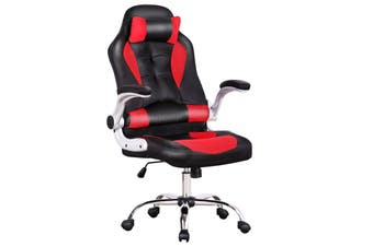 Advwin Leather Game Office Chair, Executive Meeting Chair, Ergonomic Headrest and Lumbar Support Adjustable High Back Chair
