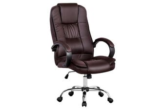 Advwin Leather-Padded, Office Chair, Adjustable, Ergonomic, High Back, with Armrest, Black, Computer PU Chair