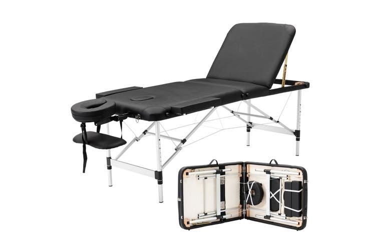 Advwin Massage Bed 3 Folding Portable Aluminum Beauty SPA Treatment Waxing Bed, Adjustable Spa Bed Facial Cradle Salon Bed, Black (L185*W70*H62-83cm)