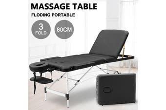 Advwin Massage Bed 3 Folding Portable Aluminum Beauty SPA Treatment Waxing Bed, Adjustable Spa Bed Facial Cradle Salon Bed, Black