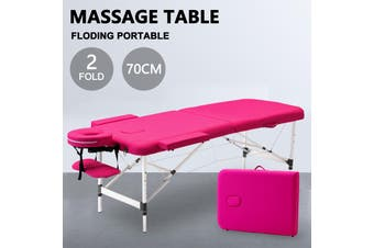 Advwin Massage Bed 2 Folding Portable Aluminum Beauty SPA Treatment Waxing Bed, Adjustable Spa Bed Facial Cradle Salon Bed, Pink