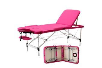 Advwin Massage Bed 3 Folding Portable Aluminum Beauty SPA, Pink