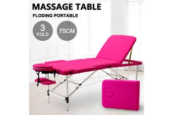 Advwin Massage Bed 3 Folding Portable Aluminum Beauty SPA, Pink