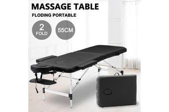 Advwin Massage Bed 2 Folding Portable Aluminum Beauty SPA Treatment Waxing Bed, Adjustable Spa Bed Facial Cradle Salon Bed, Black