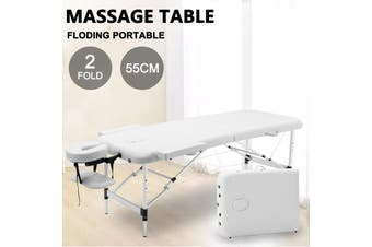 Advwin Massage Bed 2 Folding Portable Aluminum Beauty SPA Treatment Waxing Bed, Adjustable Spa Bed Facial Cradle Salon Bed, White