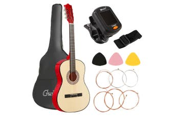 Advwin 38-Inch Beginner Folk Guitar Starter Kit Classical Folk, with Protective Cover, Paddles, Strap, Tuner