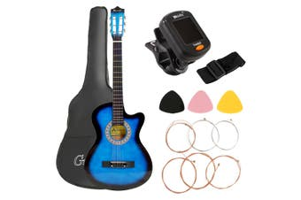 Advwin 38-Inch Beginner Folk Guitar Starter Kit Classical Folk, with EQ, Protective Cover, Paddles, Strap, Tuner