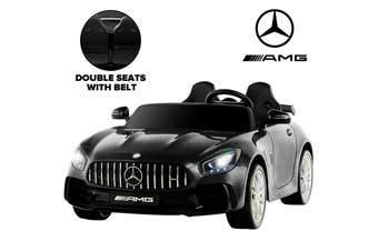 Advwin Mercedes Benz GTR 2 Seater 12v Dual Motor Ride On Car w/ Remote, Aux Cord Black