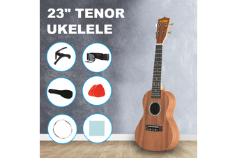 "Advwin 23"" Beginner Tenor Ukulele Mahogany Hawaiian Ukelele Kits with Bag & Strap & Strings Brown"