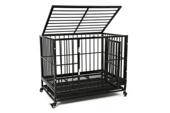 Advwin Large Heavy Duty Dog Cage, Large Dogs Crate with Two Prevent Escape Lock&Wheels, Strong Metal Dog Crate for Indoor&Outdoor