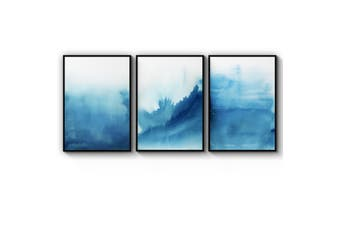 Set of Blue Ink Abstract Wall Art