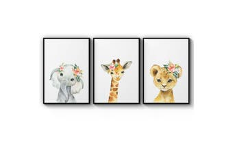 Set of Baby Safari Animals Wall Art
